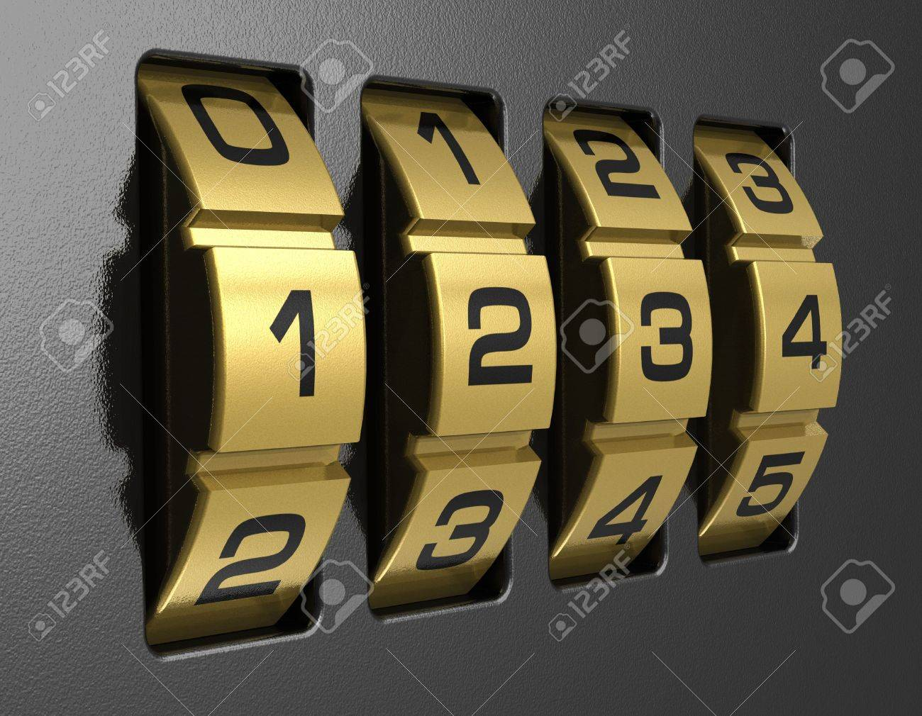Close view of metal 4-digit combination lock Stock Photo - 9597023