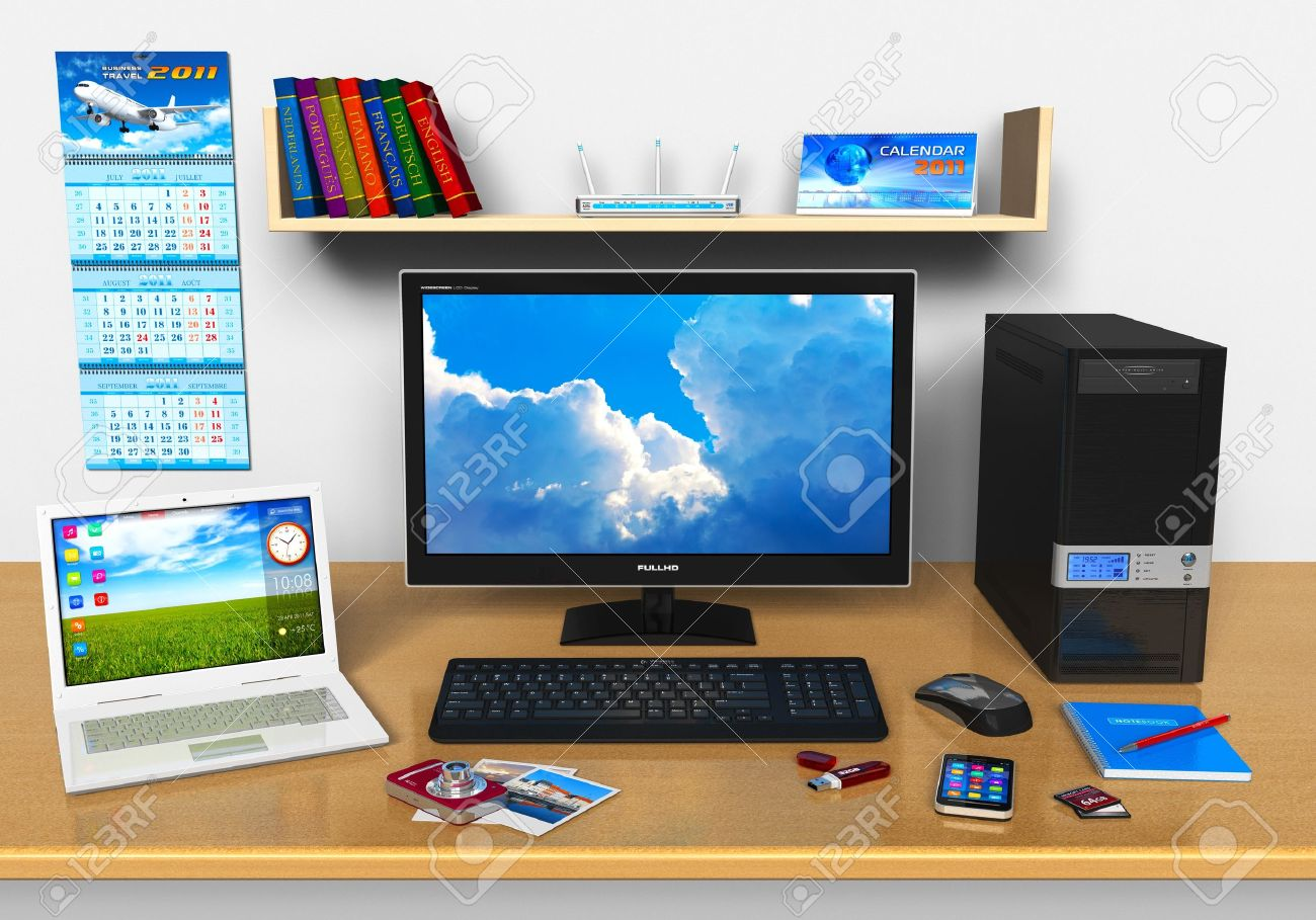 Office workplace with desktop computer, laptop, smartphone, compact digital camera, flash drive and other devices Stock Photo - 9645974