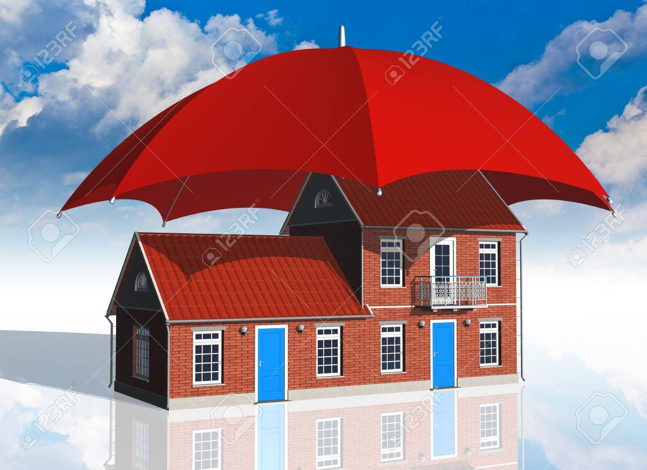 residential house covered by red umbrella - 9647495