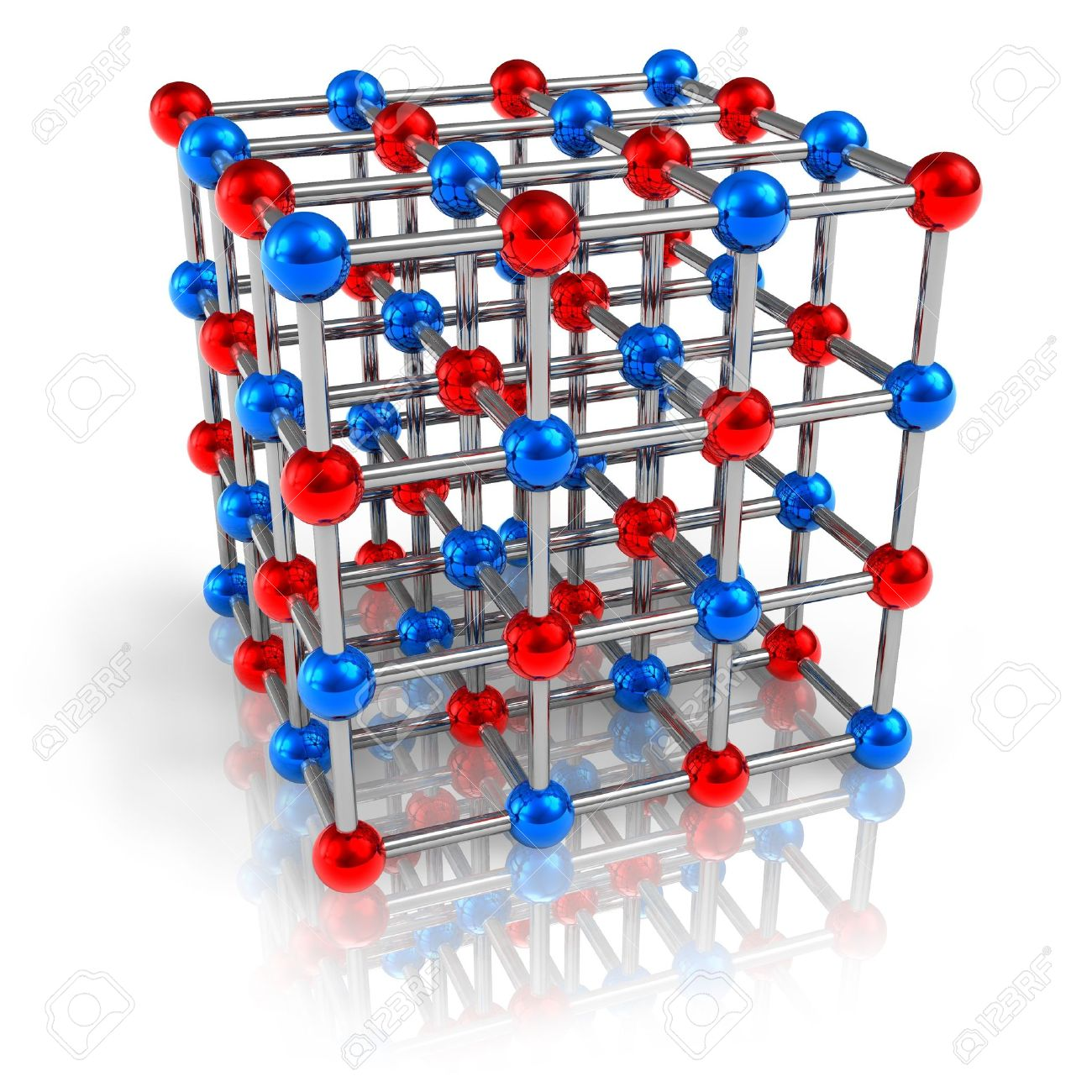 Model of molecular structure isolated on white reflective background Stock Photo - 9647493