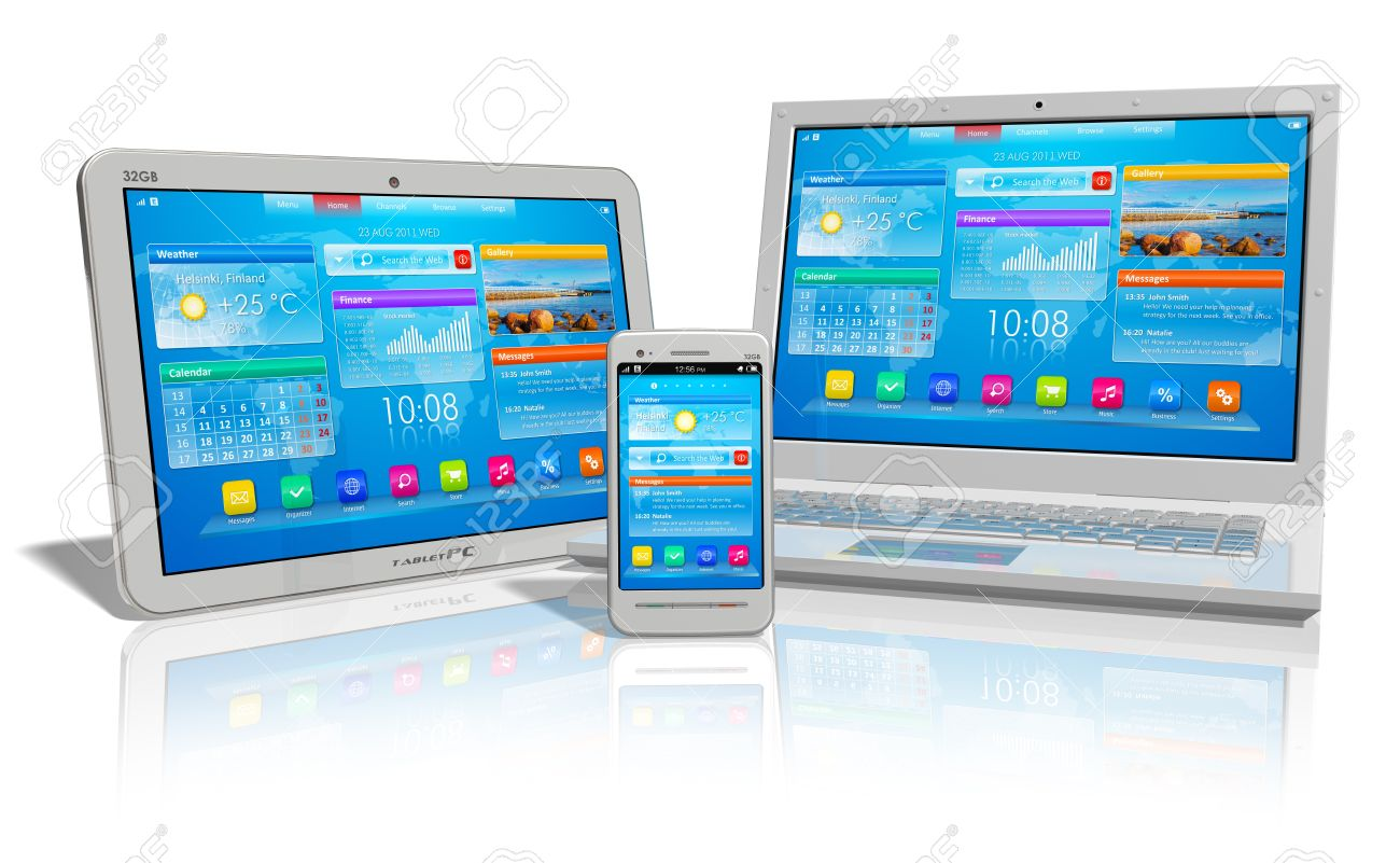 White tablet PC, smartphone and laptop isolated on white reflective background Standard-Bild - 9832415
