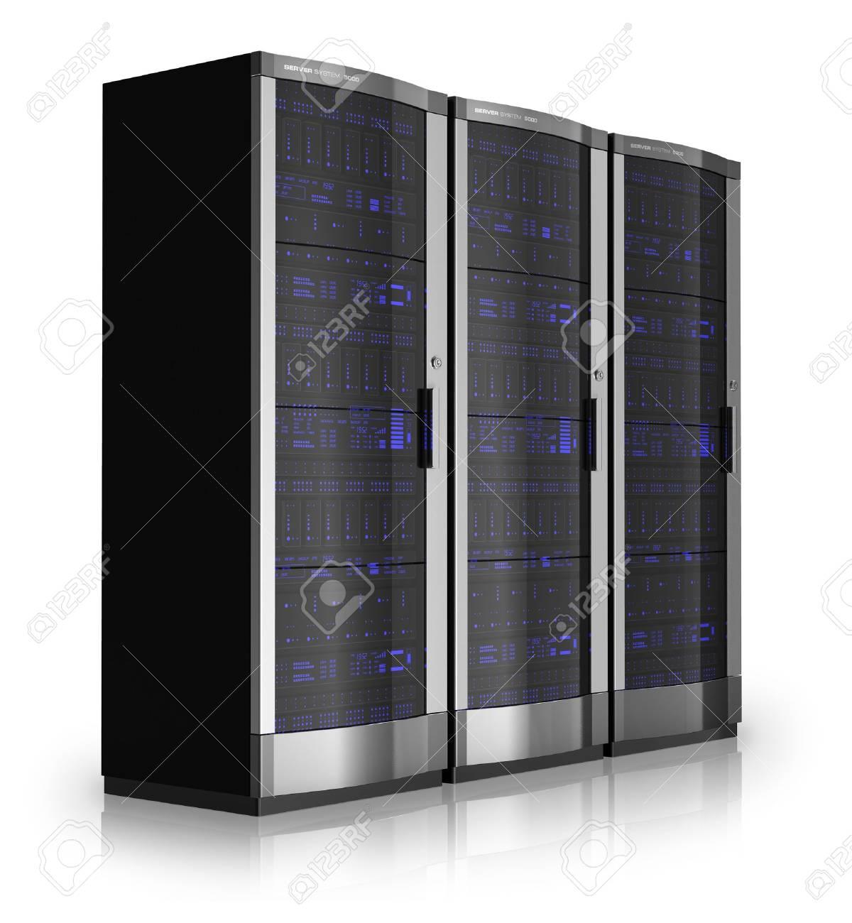 Server racks isolated on white reflective background Stock Photo - 9832576