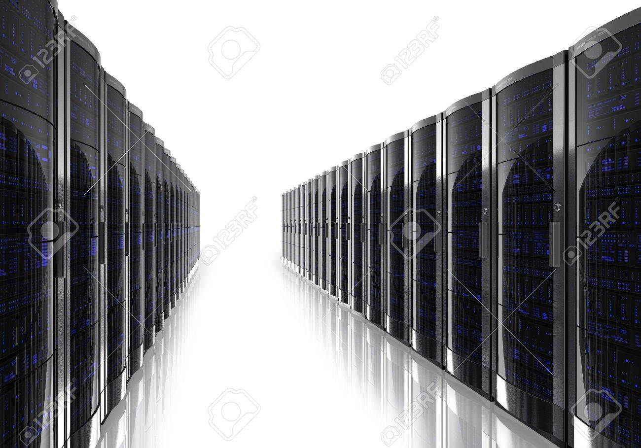 Server room interior isolated on white reflective background Stock Photo - 9832566