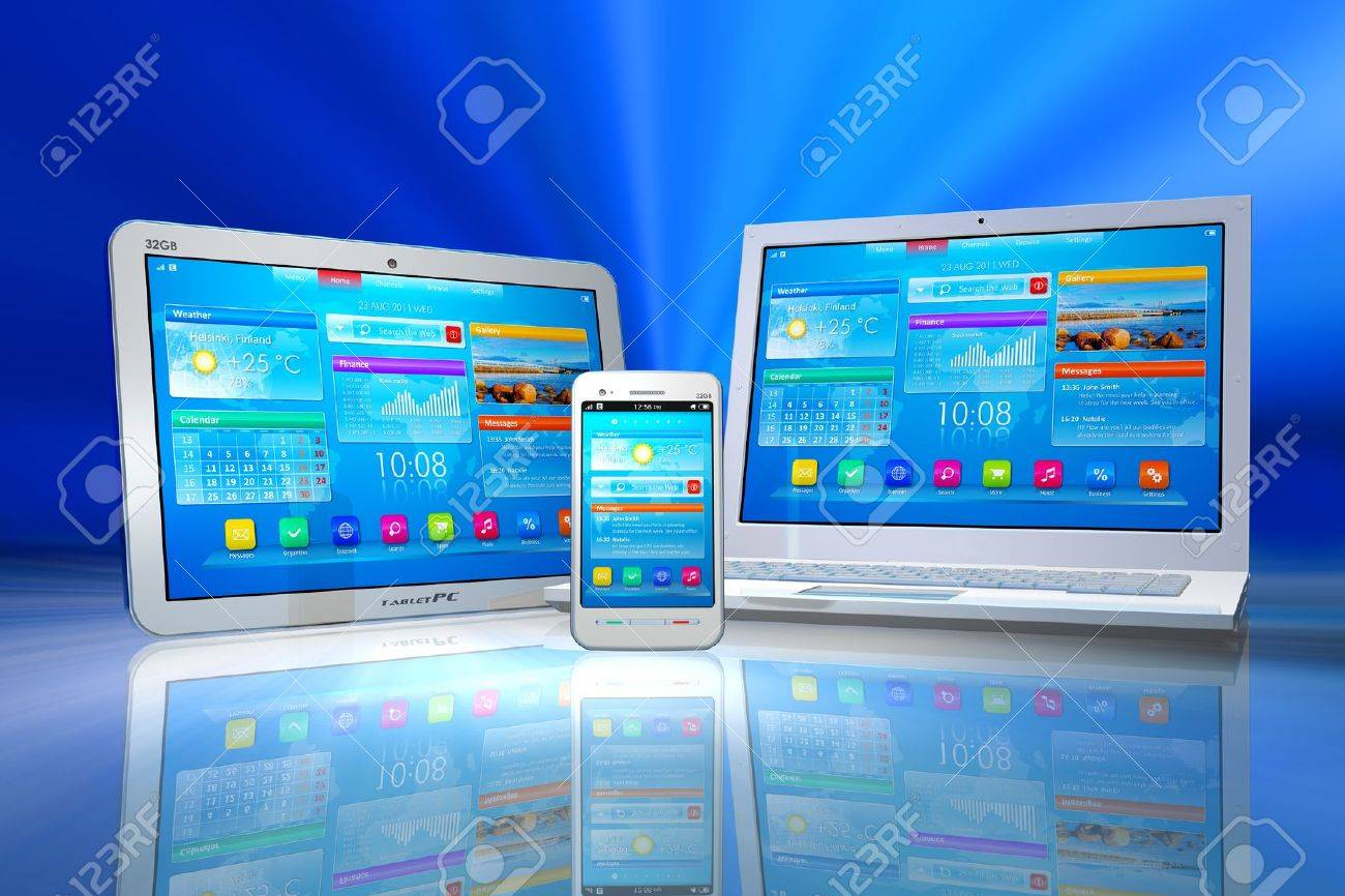 White tablet PC, smartphone and laptop isolated on blue abstract reflective background Stock Photo - 9959524