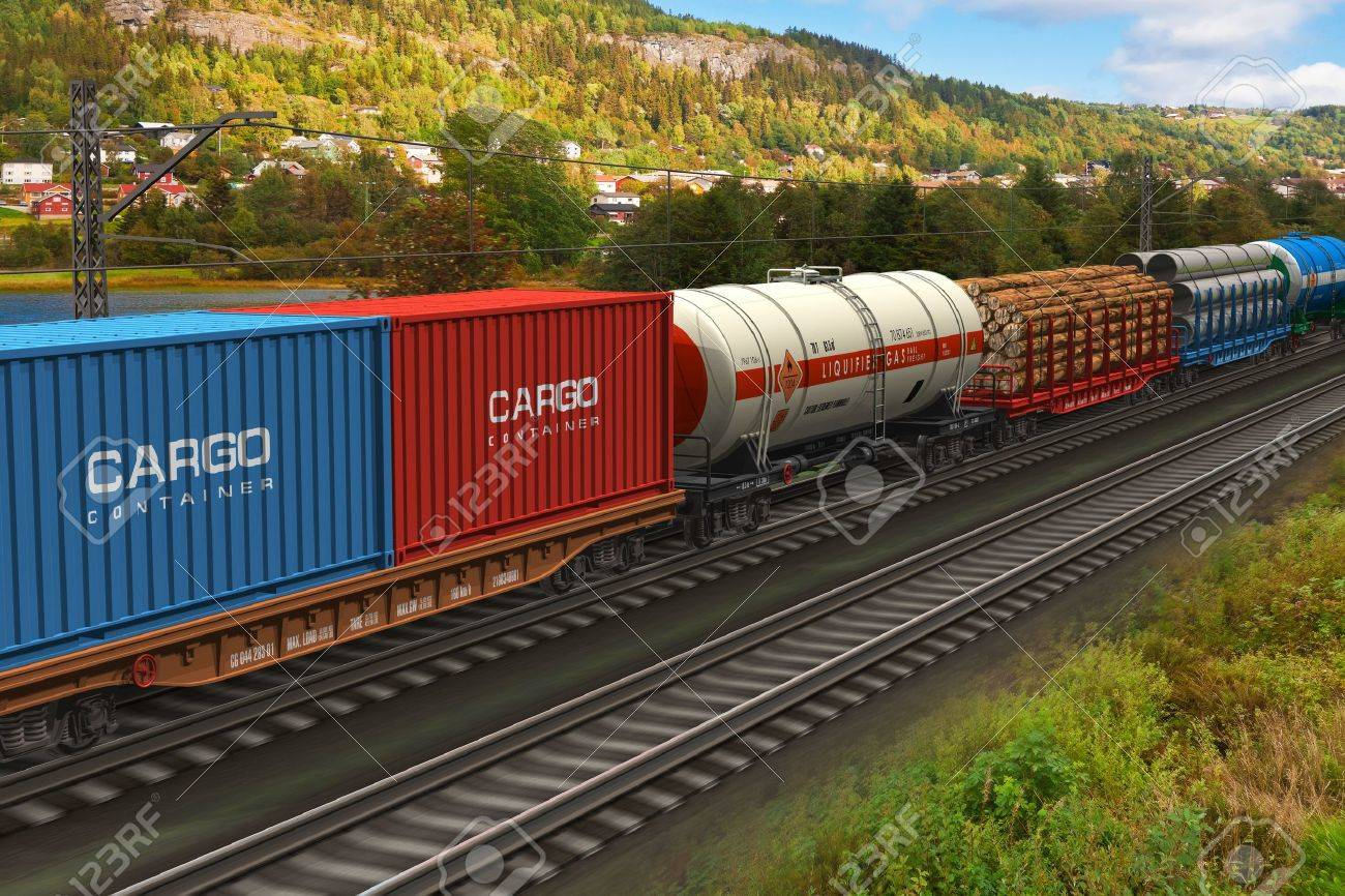 Scenery of the freight train passing by mountain range *** ALL TEXT LABELS ARE MY OWN AND FULLY ABSTRACT Stock Photo - 10060395