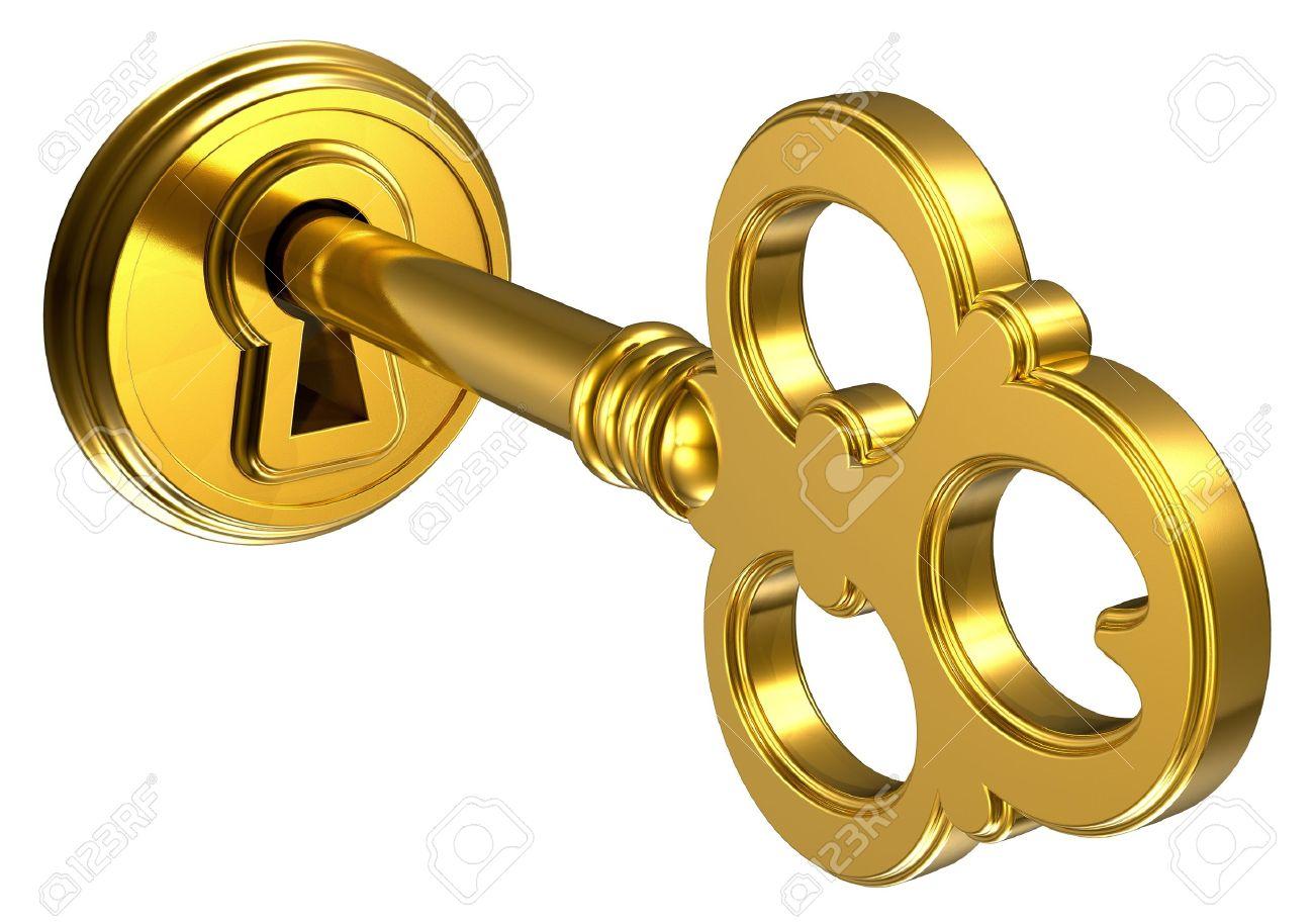 Golden key in keyhole isolated on white background Stock Photo - 10416560