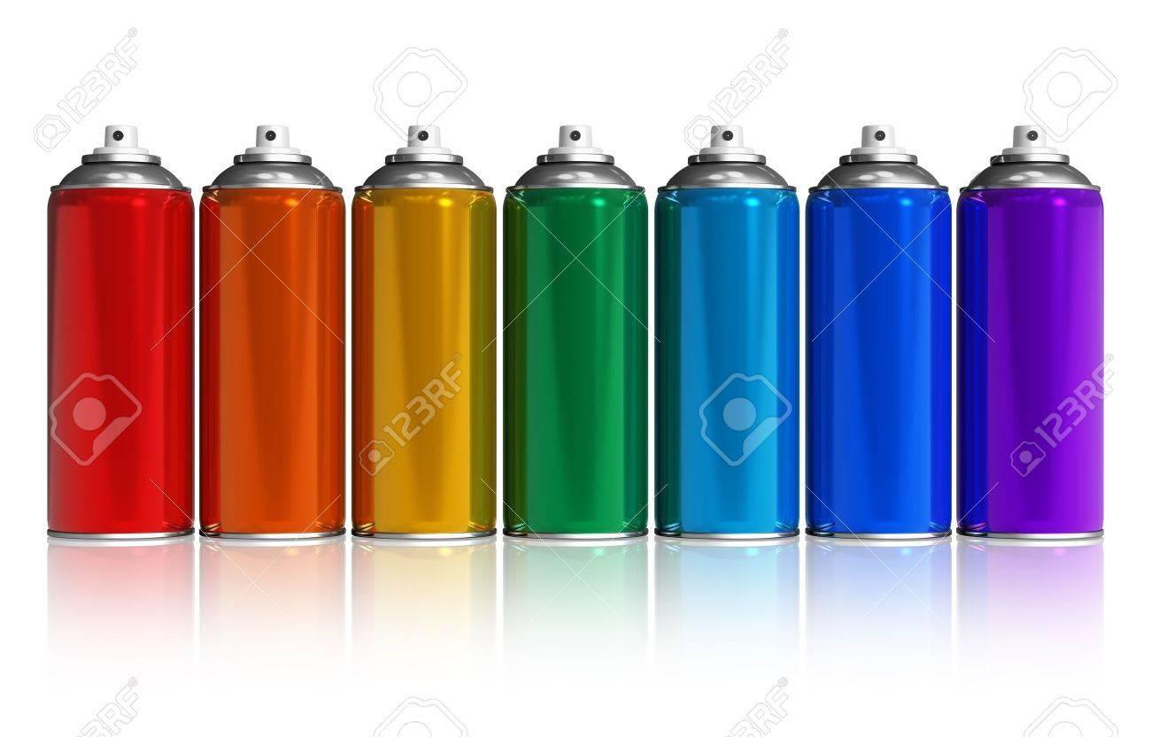 Spraydosen Farben.Stock Photo