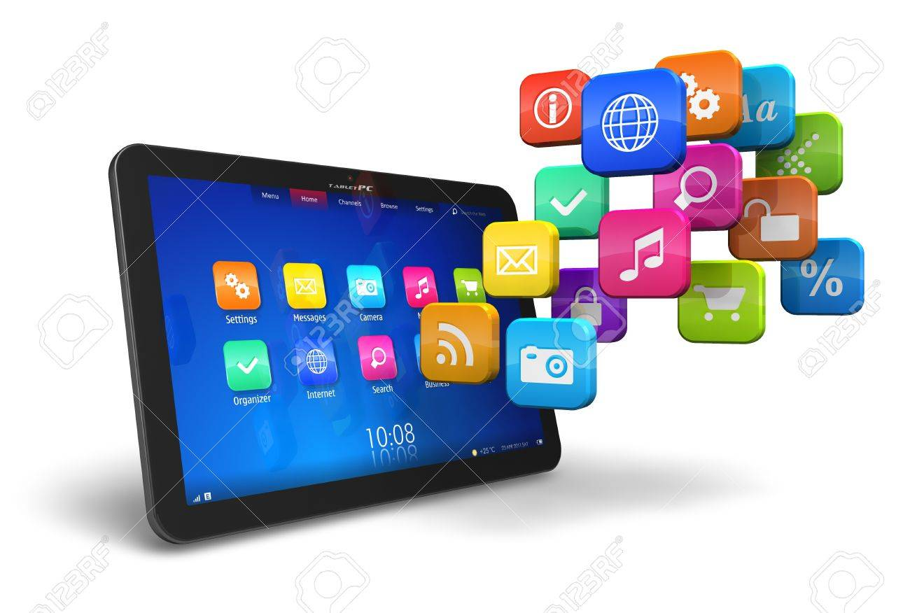tablet pc with cloud of colorful application icons isolated on