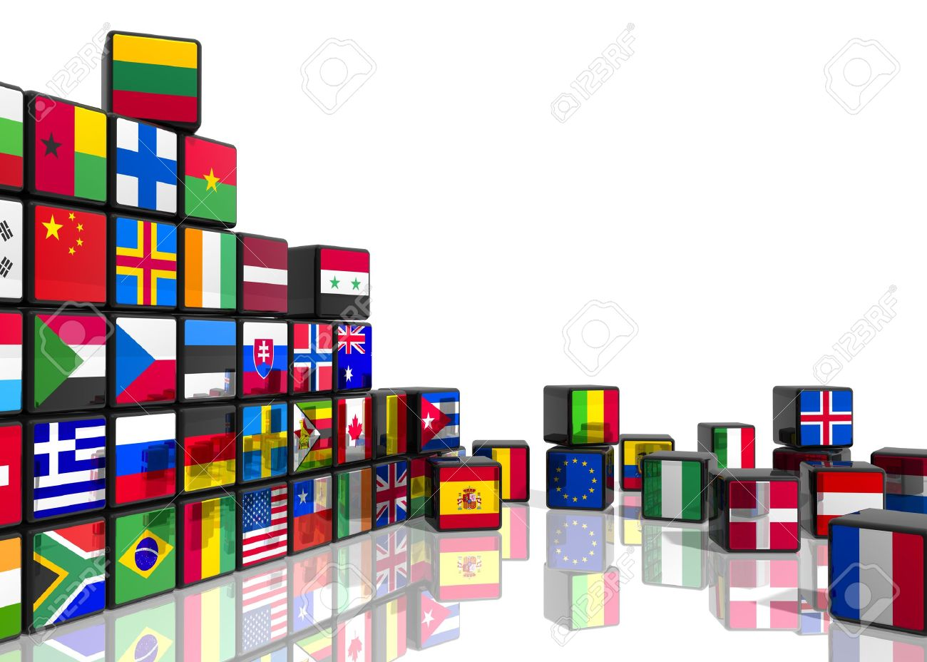 Travel and world flags concept: collage from cubes with colorful flags isolated on white reflective background Stock Photo - 10942102