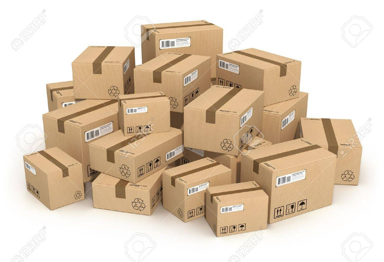 heap of cardboard boxes isolated on white background stock photo