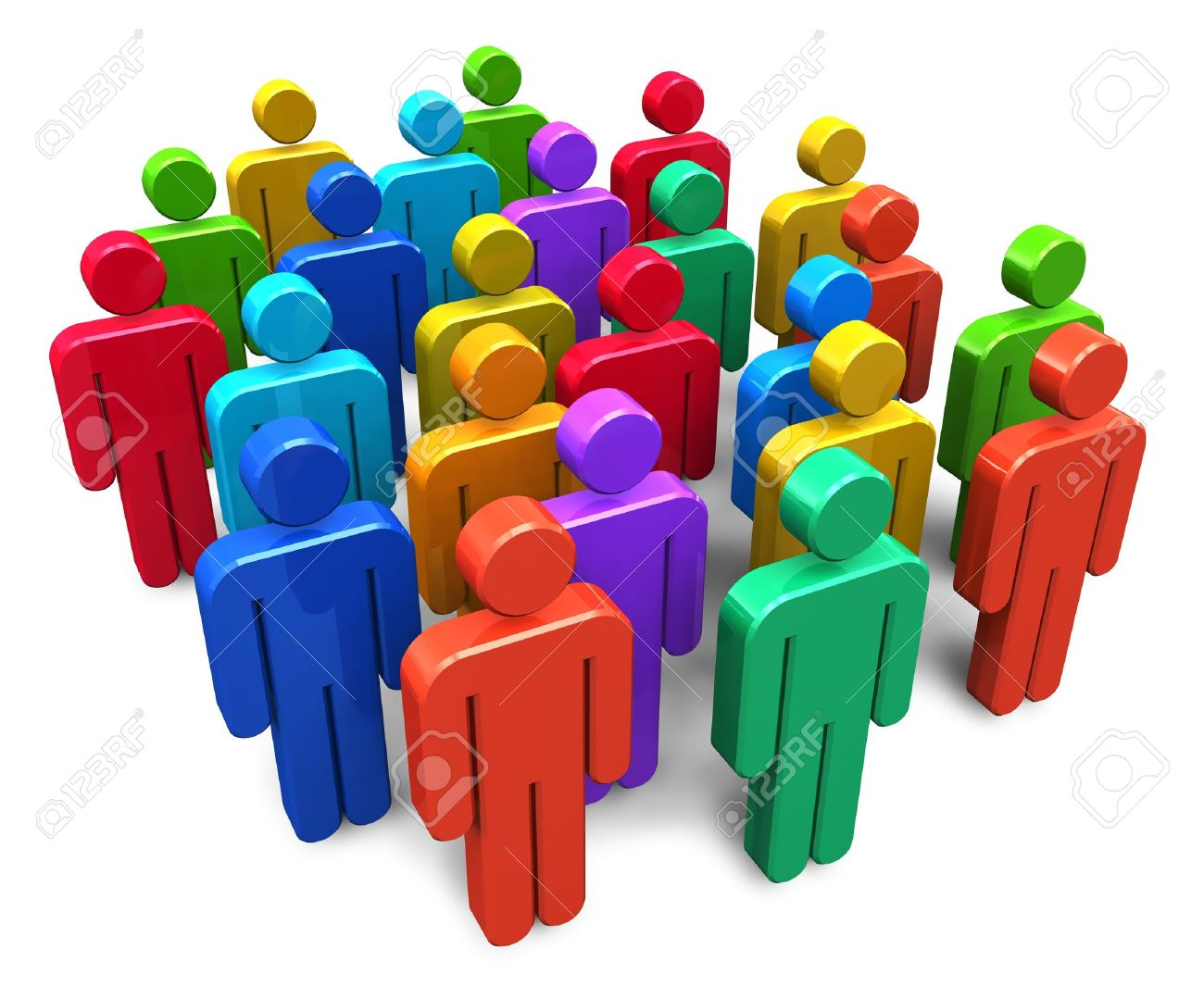 Social network concept: group of color human figures isolated on white background Stock Photo - 11334120