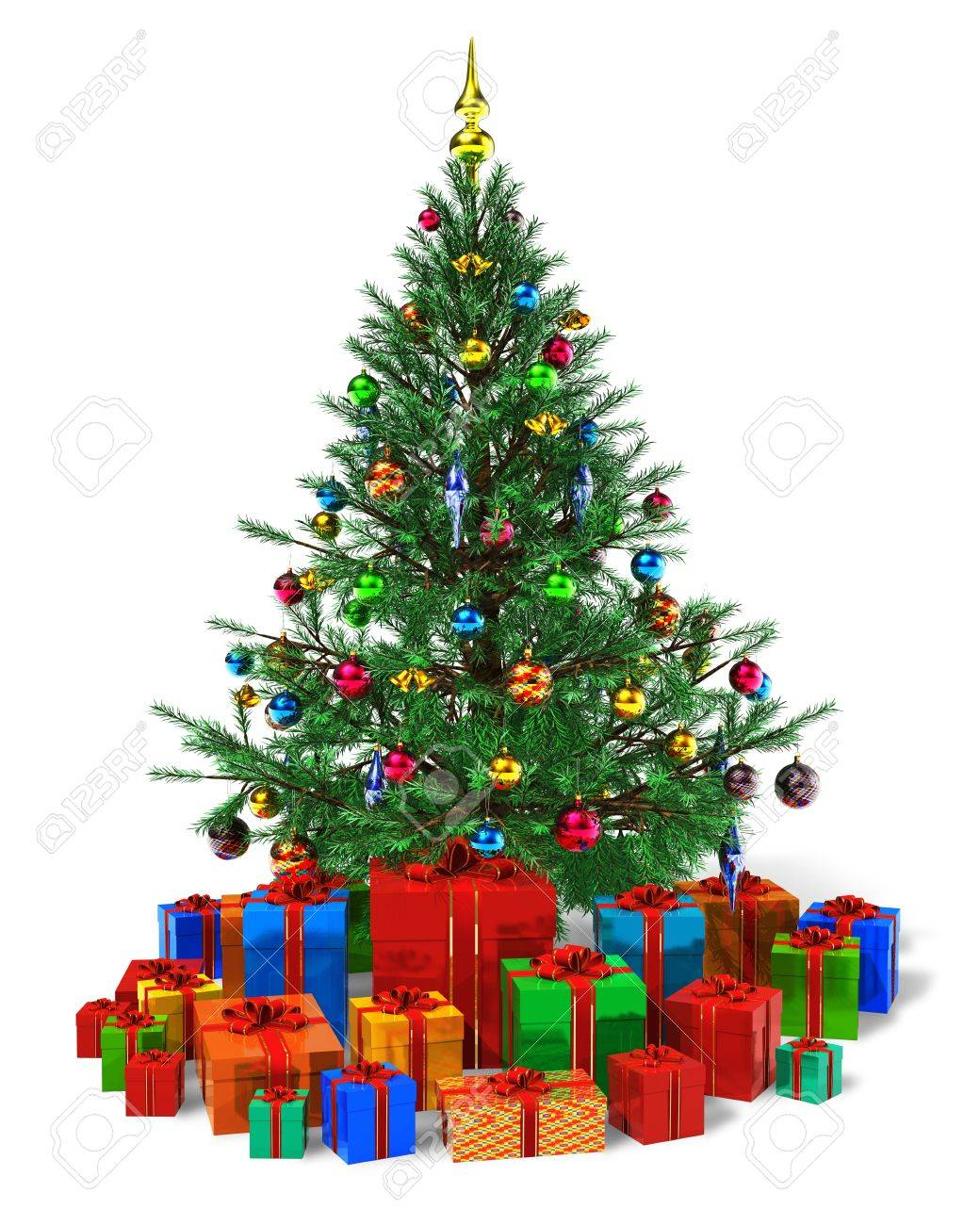 Decorated Christmas Tree With Heap Of Color Gift Boxes Isolated ...