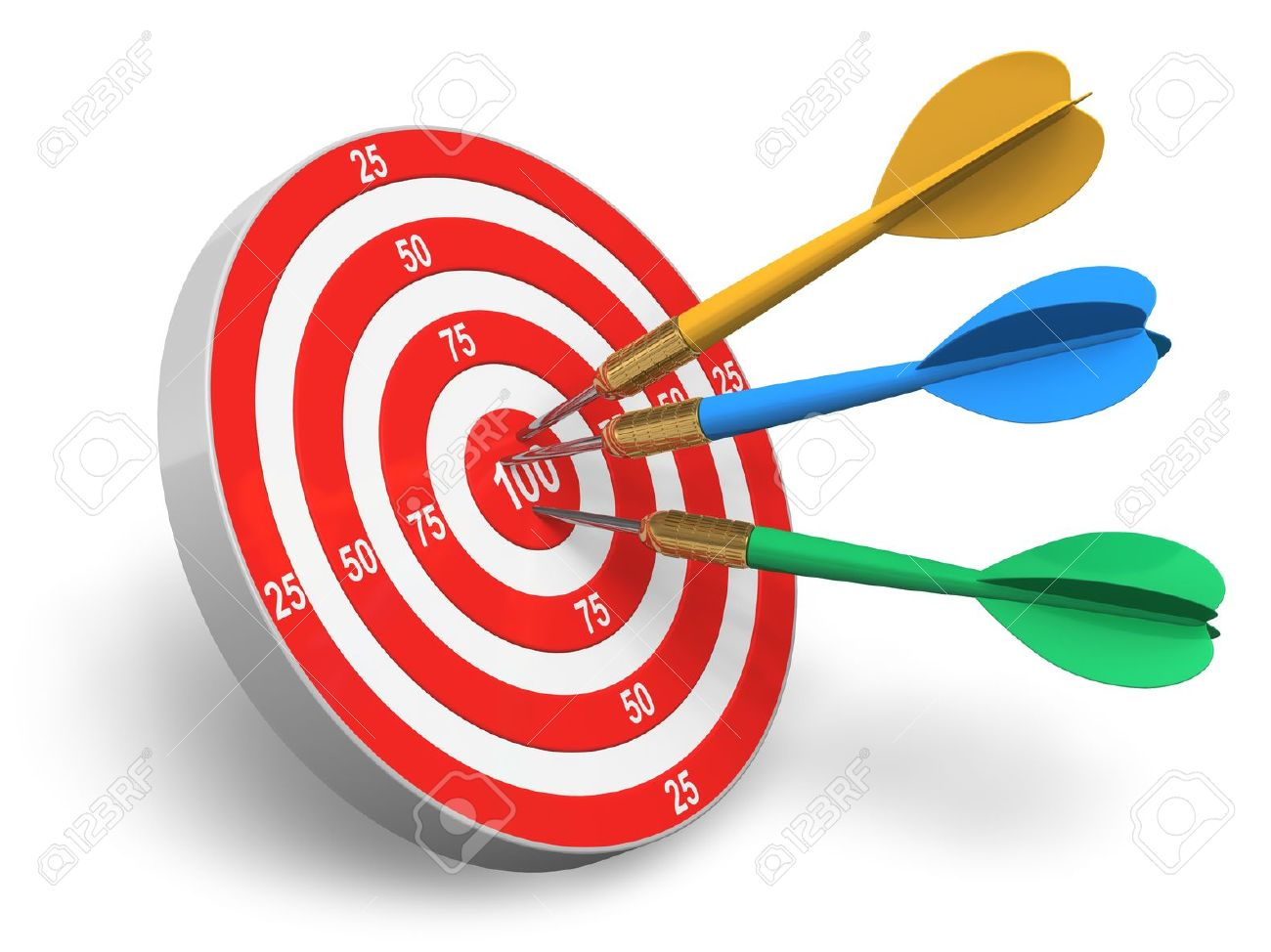 Darts Game Red Circle Target And Color Arrows Isolated On White