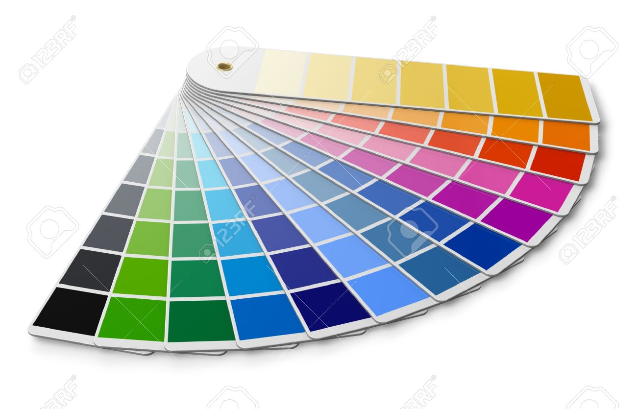 pantone color palette guide isolated on white background stock photo