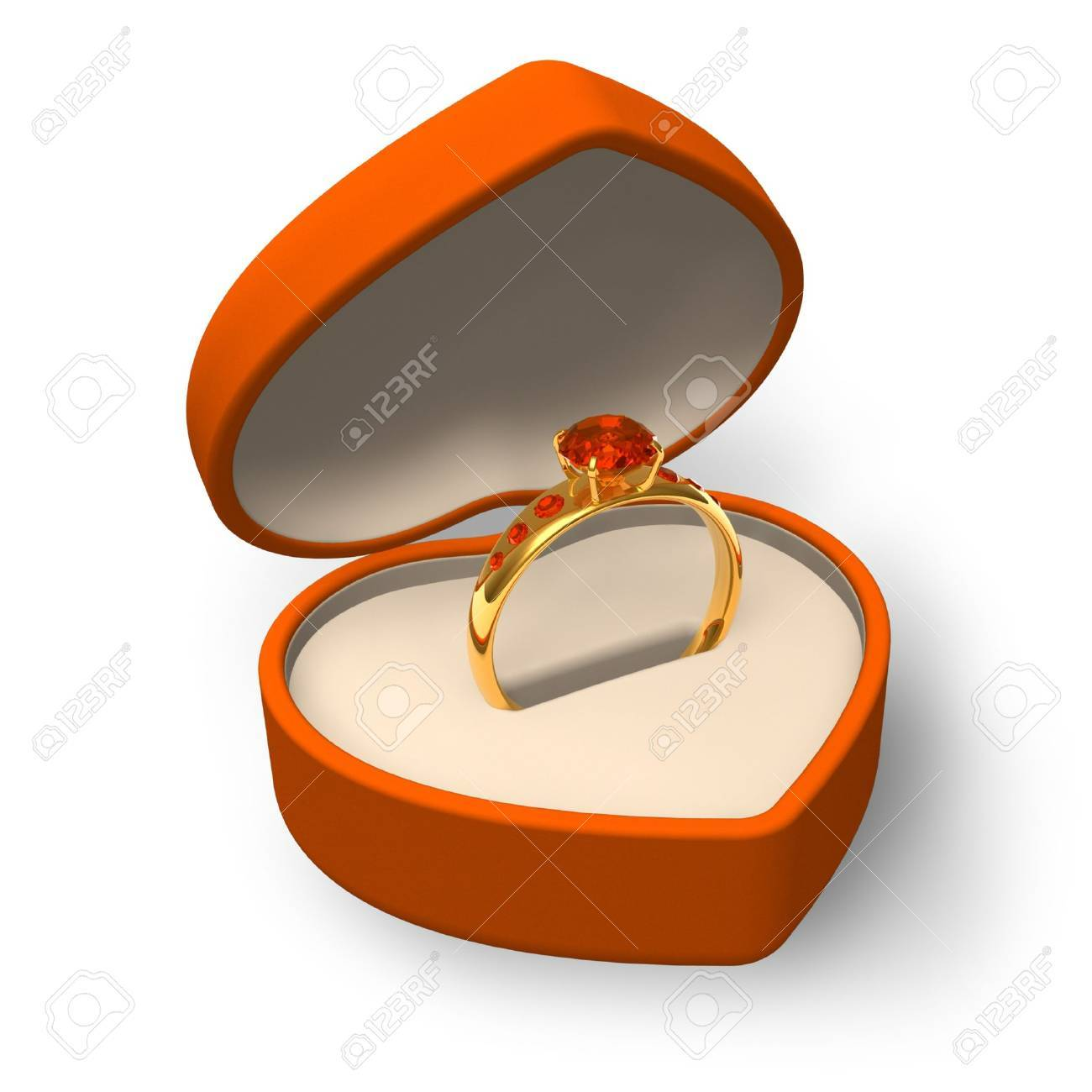 Orange Heart-shape Box With Golden Ring With Jewels Isolated ...