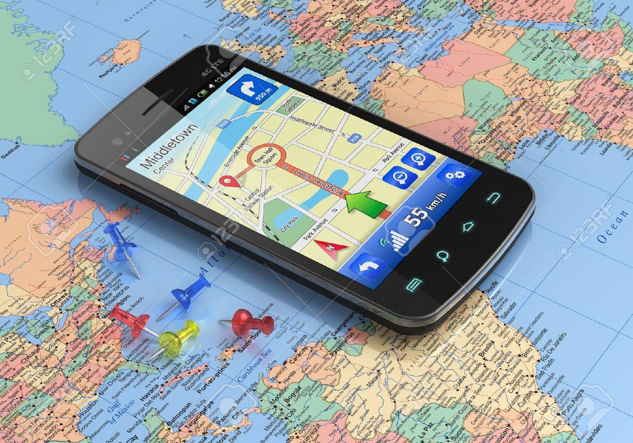 Touchscreen smartphone with gps navigation on world map stock photo stock photo touchscreen smartphone with gps navigation on world map gumiabroncs Gallery