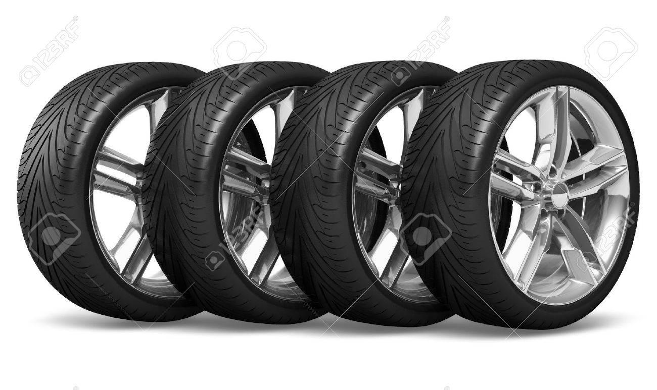 Set of four car wheels isolated on white background Stock Photo - 11788855