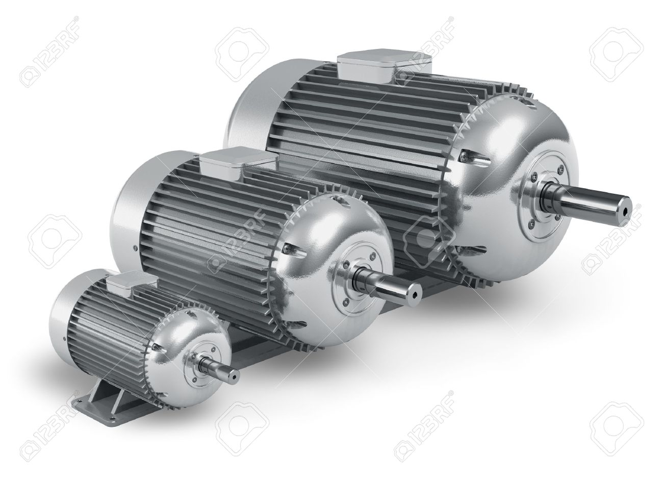Set of big different industrial electric motors isolated on white background Stock Photo - 12247431