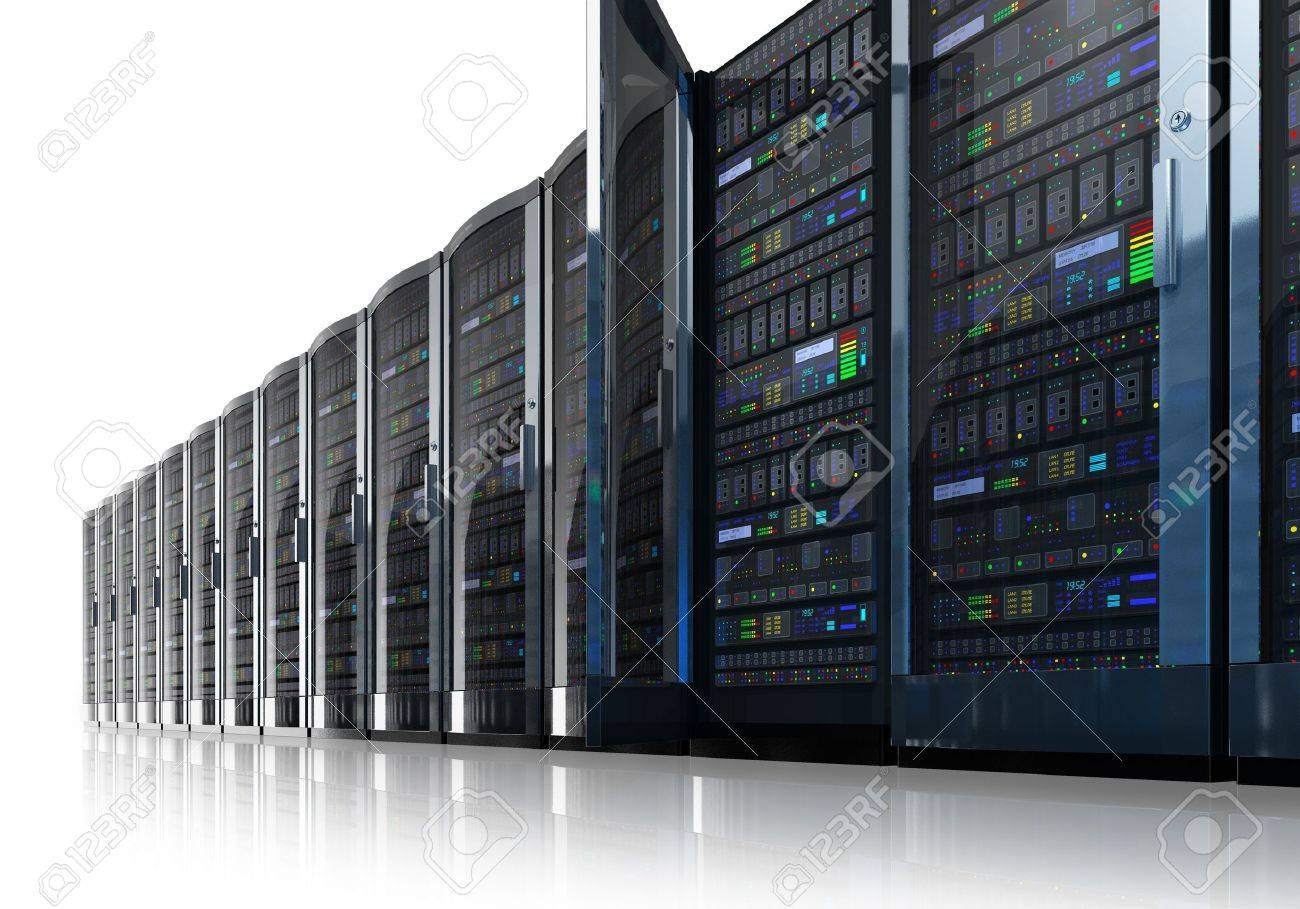 Row of network servers in data center isolated on white reflective background Stock Photo - 12608723