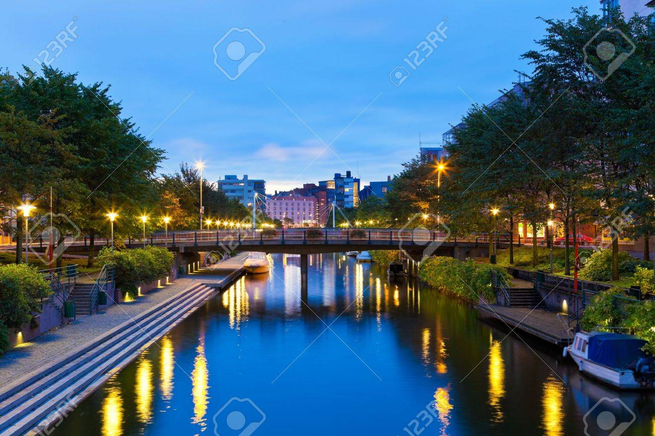 Scenic evening view of the sea canal in Ruoholahti district in Helsinki, Finland Stock Photo - 12608730