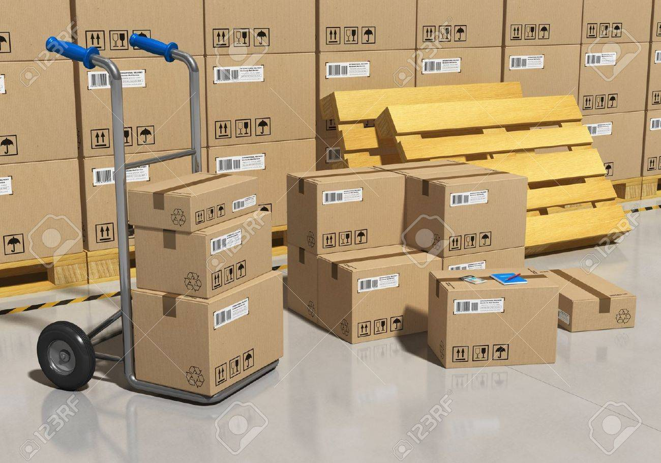Interior of storage warehouse with goods packaged in cardboard boxes and hand truck Stock Photo - 12608739