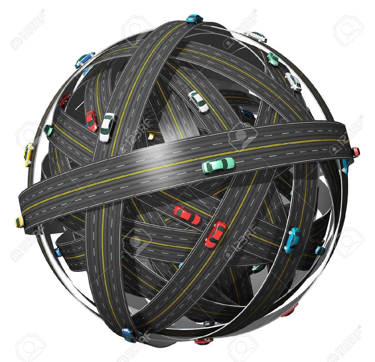 Travel, transportation and GPS navigation concept: ball of roads with color cars isolated on white background Stock Photo - 12812263