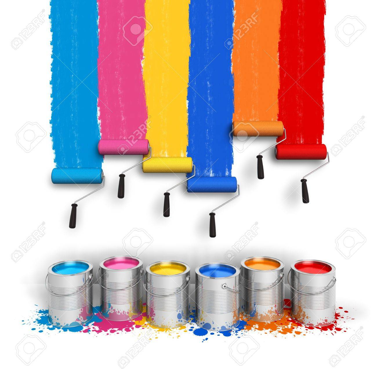 Creativity concept  set of color roller brushes with trails of paint on the wall and metal cans with oil paint isolated on white background Stock Photo - 13098661