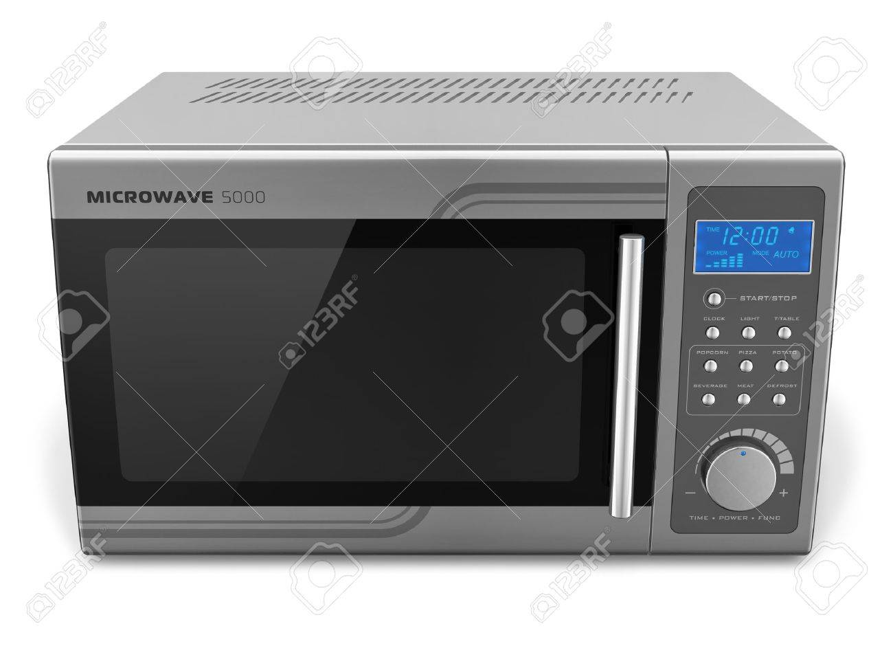 Microwave oven isolated on white background     Design is my own and all text labels are fully abstract Stock Photo - 13193014