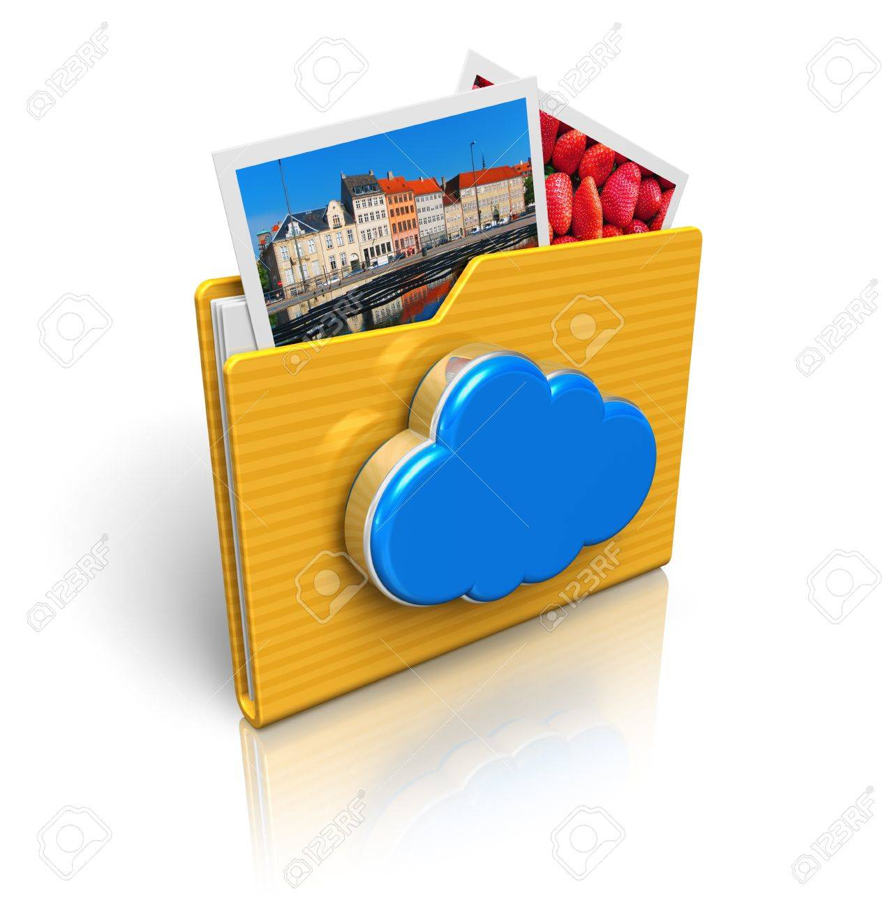 Cloud computing and media storage concept  folder icon with photos and blue glossy cloud icon isolated on white background with reflection effect     All photos used here are my own from my own portfolio Stock Photo - 13541264