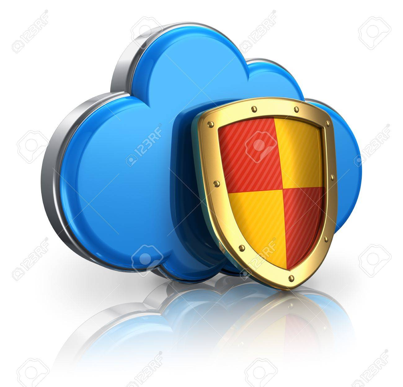 Cloud computing and storage security concept: blue glossy cloud icon covered by metal protection shield isolated on white background with reflection effect Stock Photo - 13537053