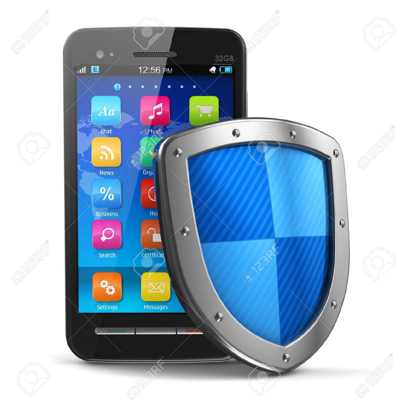Mobile security and antivirus protection concept  black glossy touchscreen smartphone covered by metal protection shield isolated on white background     Design of smartphone is my own and all text labels are fully abstract Stock Photo - 13537057