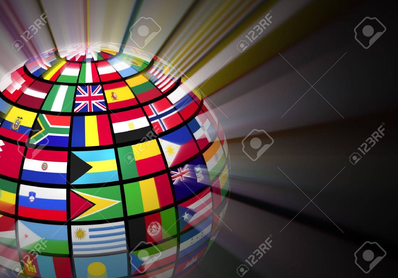 Global communication concept  glowing globe with world flags on black background Stock Photo - 13877486