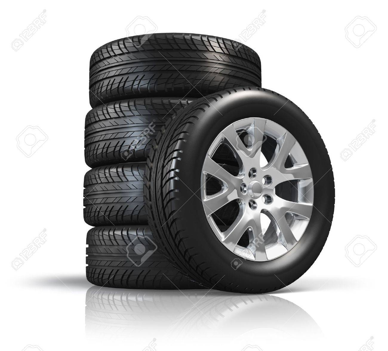 Set of car wheels isolated on white background with reflection effect Stock Photo - 13903901