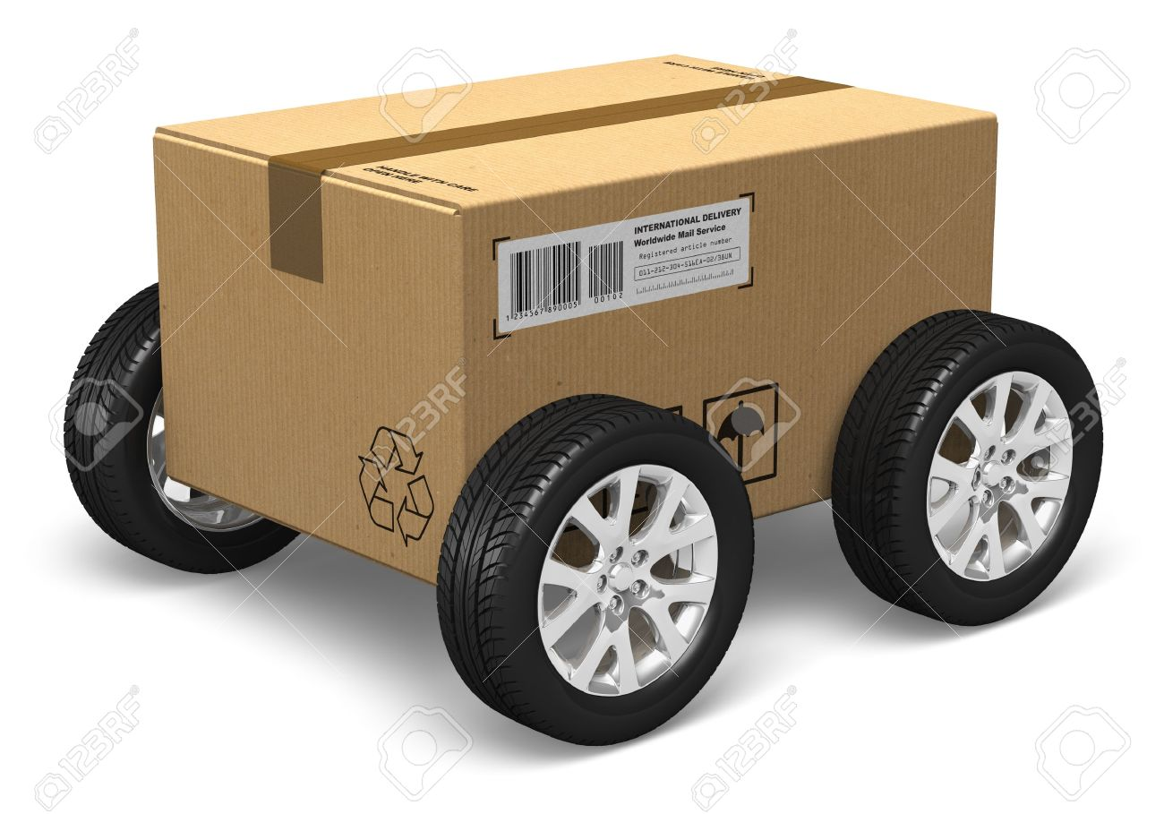 Shipping, logistics and delivery concept: cardboard box with car wheels isolated on white background. All text labels, numbers and barcodes are fully abstract Stock Photo - 13903911