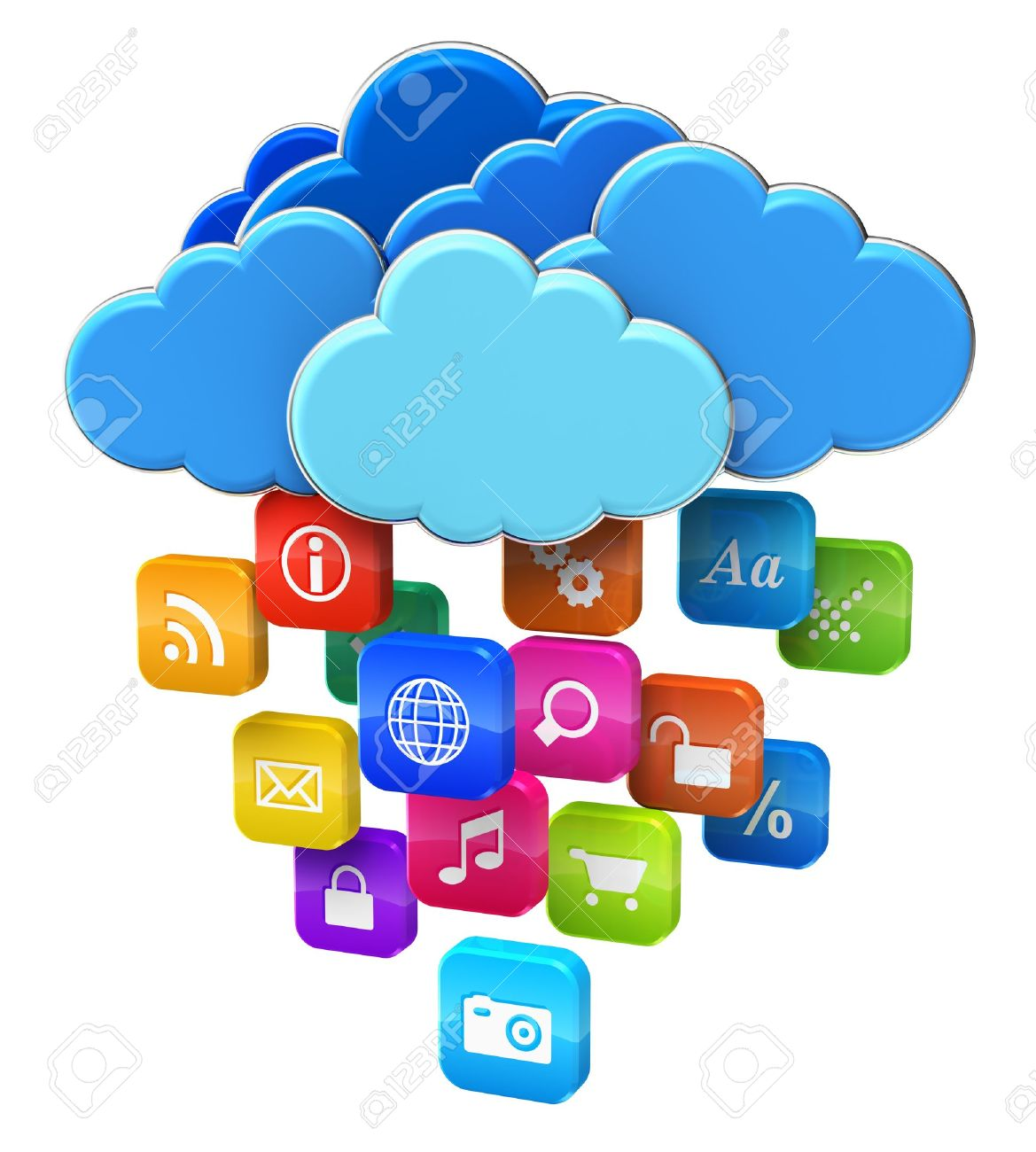 Cloud computing and mobility concept  blue glossy clouds with lot of color application icons isolated on white background Stock Photo - 13968792