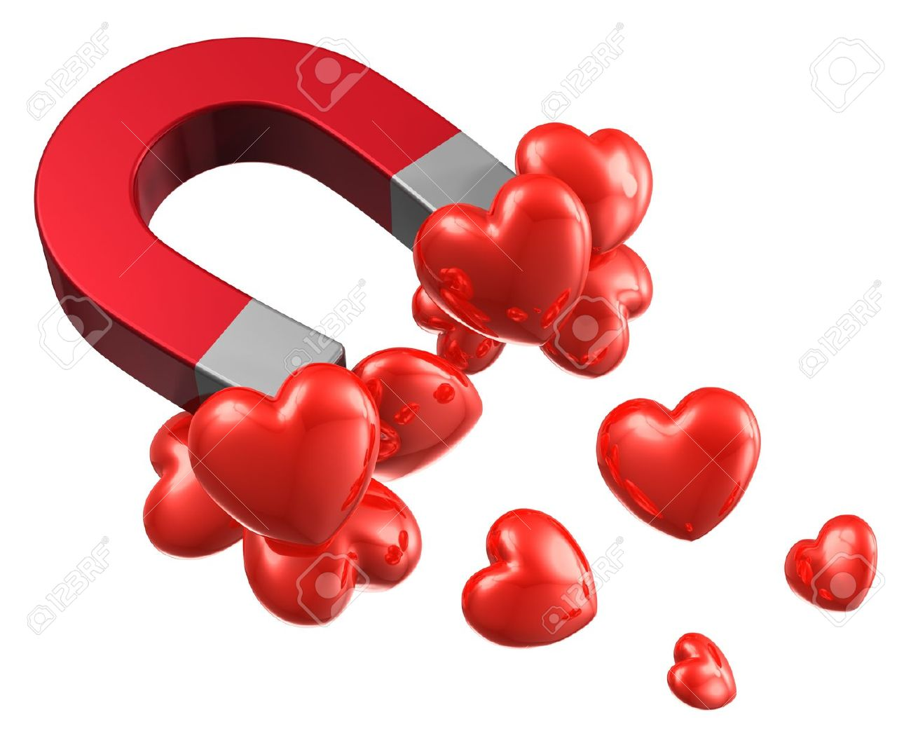 Love and attraction concept lot of red hearts attracted by metal love and attraction concept lot of red hearts attracted by metal horseshoe magnet isolated on white biocorpaavc