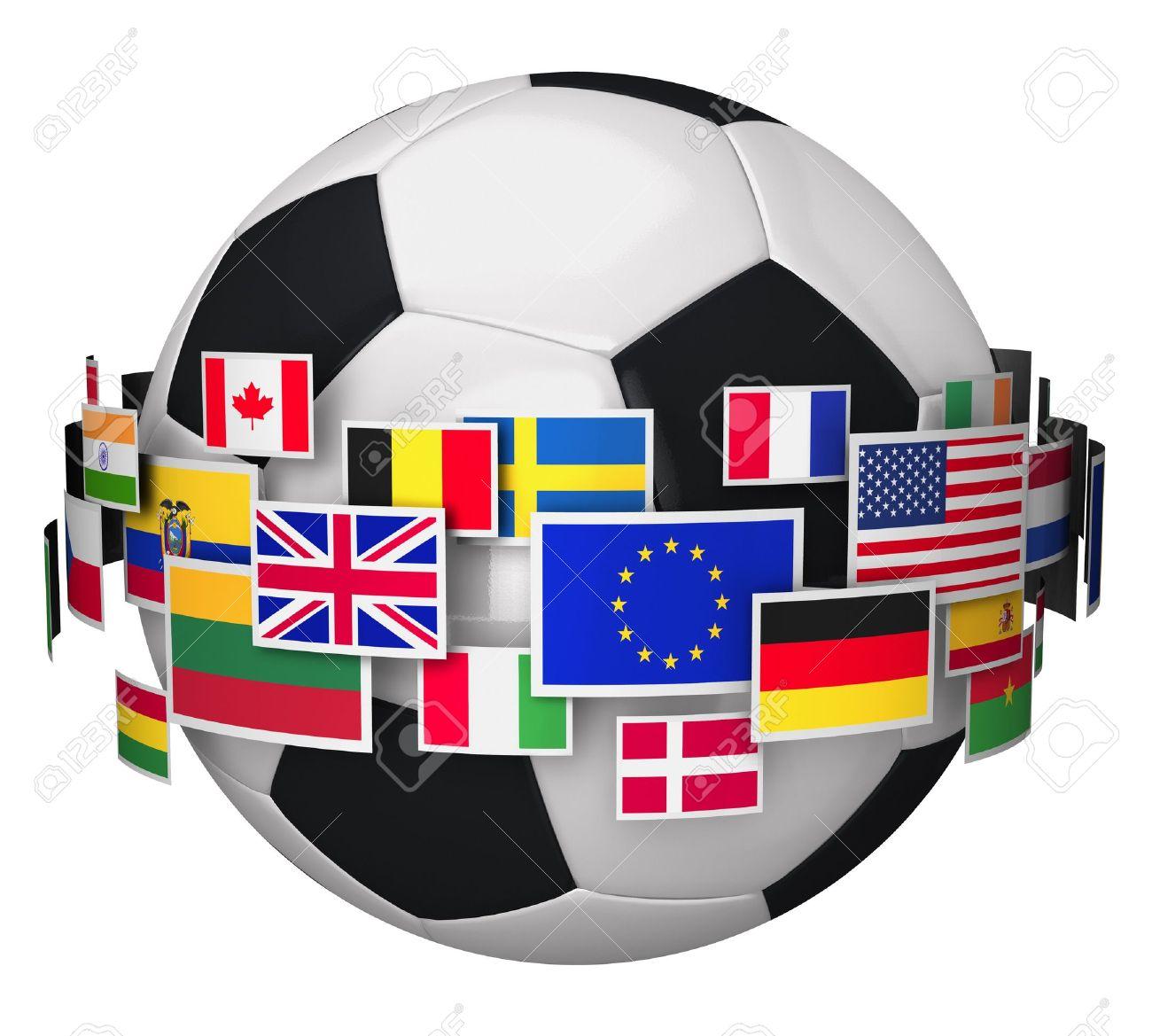 Internationale Fußball-EM Fußball-Konzept Mit Gruppe Von Farb ...