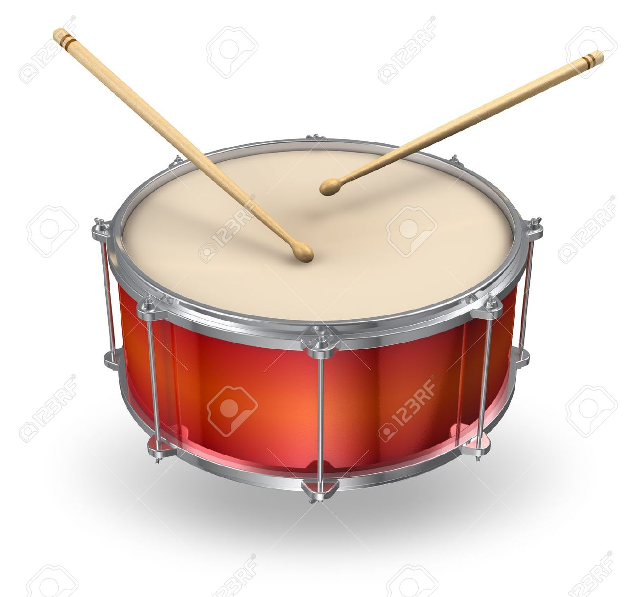 Fagot y clavicordio 14361567-Red-drum-with-pair-of-drumsticks-isolated-on-white-background-Stock-Photo