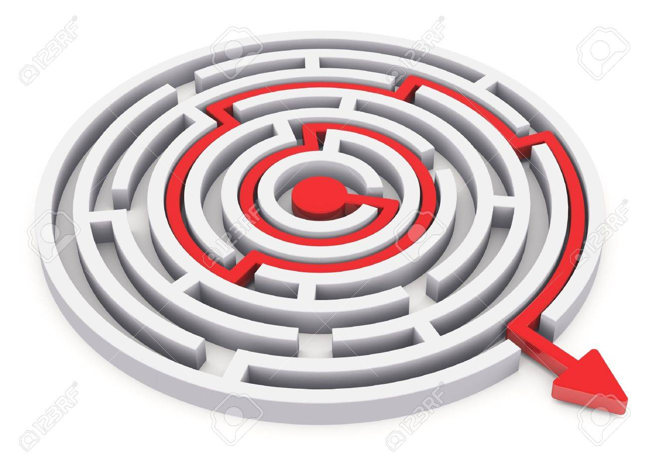 Solved round circle labyrinth with red path with arrow isolated on white background Stock Photo - 14361568