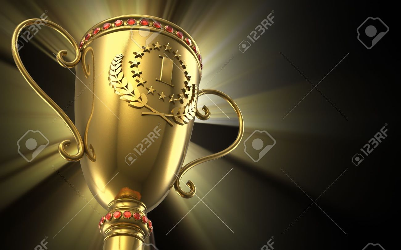 Award Winning And Championship Concept Golden Glowing Trophy Cup On Black Background Stock Photo