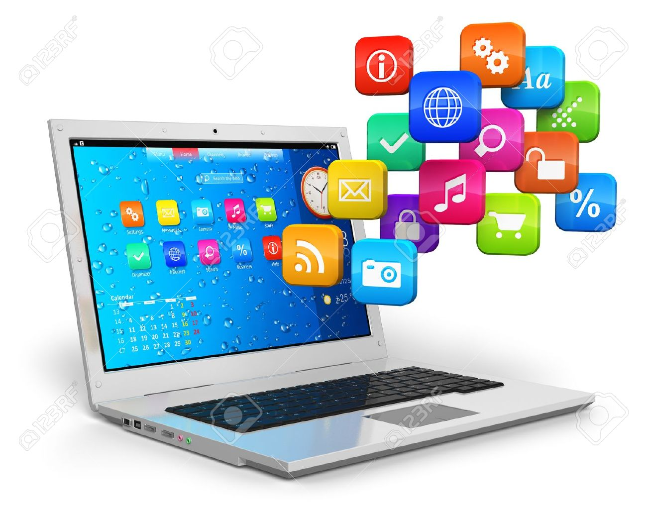 Computer mobility, internet communication and cloud computing concept: white laptop with cloud of color application icons isolated on white background. Stock Photo - 14629575