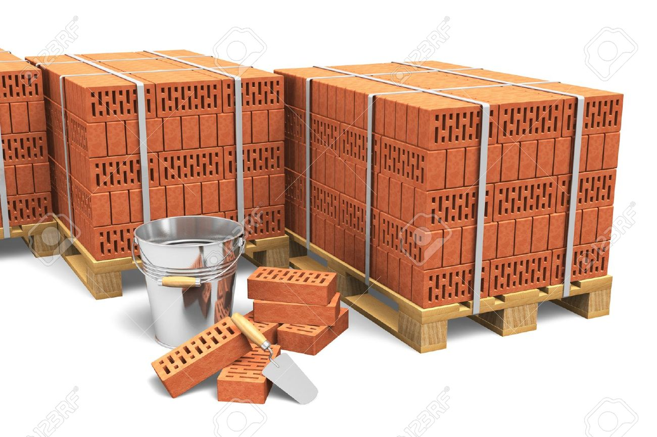 Building and construction industry concept  group of wooden shipping pallets full of red bricks and construction tools isolated on white background Stock Photo - 14765886