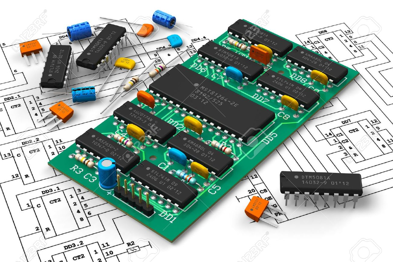 circuit board schematic diagram electronics industry concept digital circuit board with microchips  concept digital circuit board