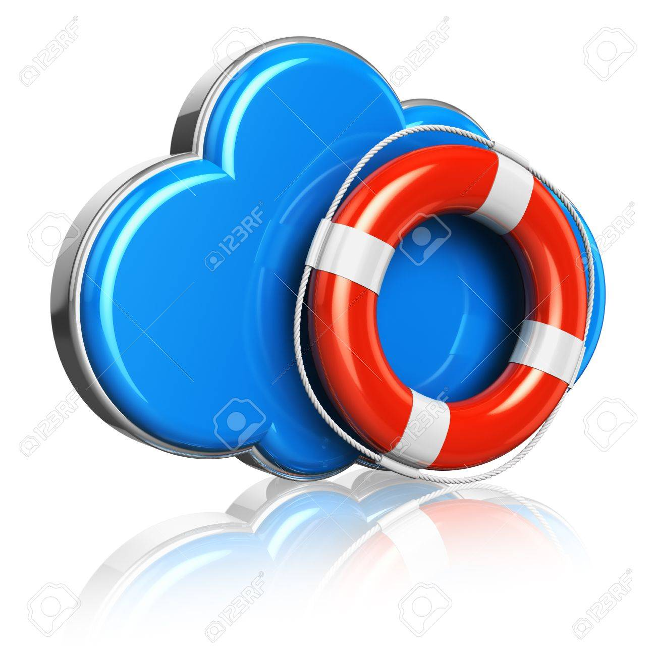 Cloud computing and storage security concept: blue glossy cloud icon with red lifesaver belt isolated on white background with reflection effect Stock Photo - 15494848