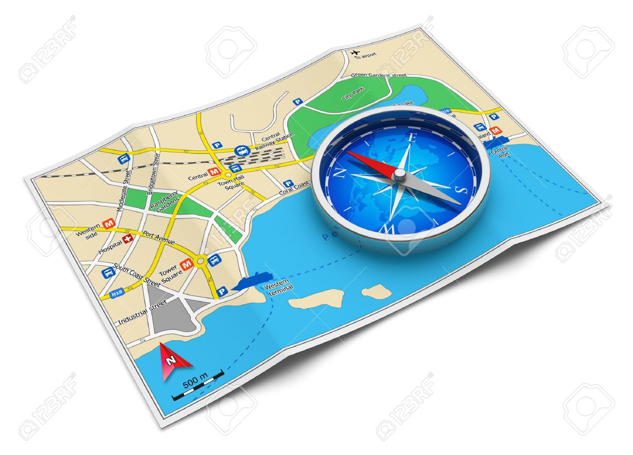 gps navigation tourism and travel route planning concept color city map and blue magnetic