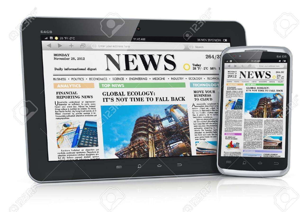 Tablet PC computer and touchscreen smartphone with business web news media Stock Photo - 16191180