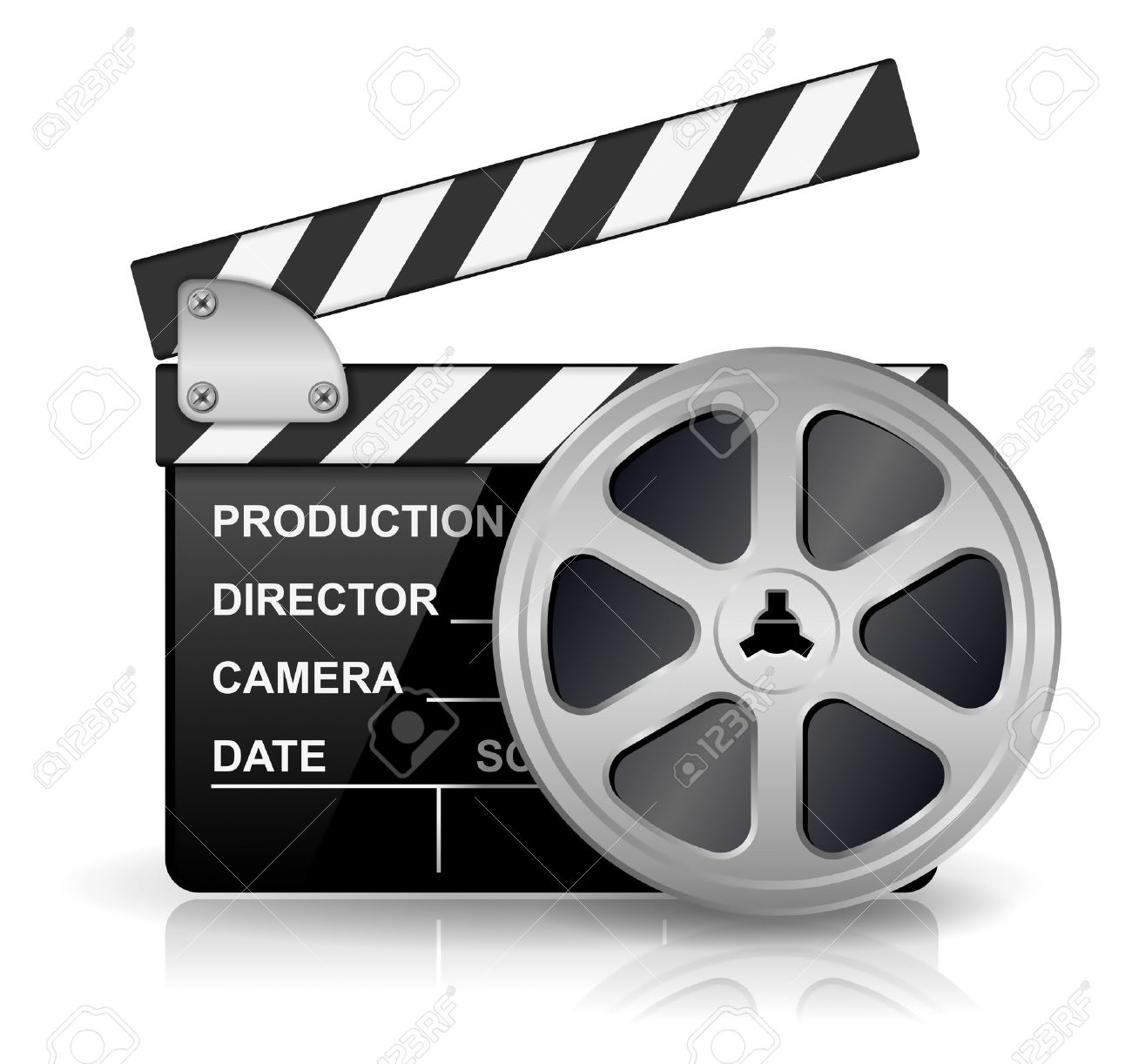illustration of black clapper board for film, movie and cinema production isolated on white background with reflection effect Stock Vector - 16451997