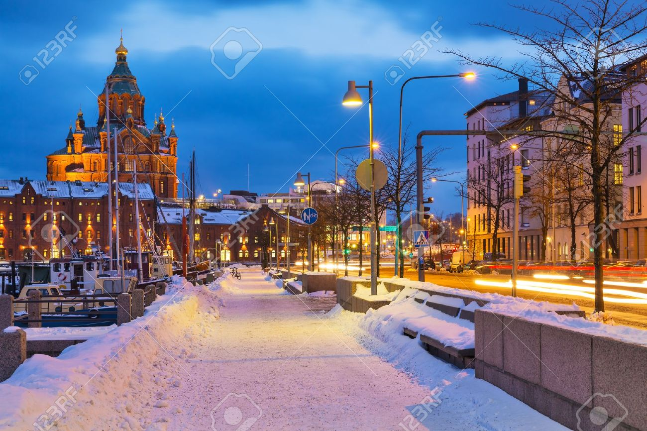 Winter scenery of the Old Town in Helsinki, Finland Stock Photo - 16798326