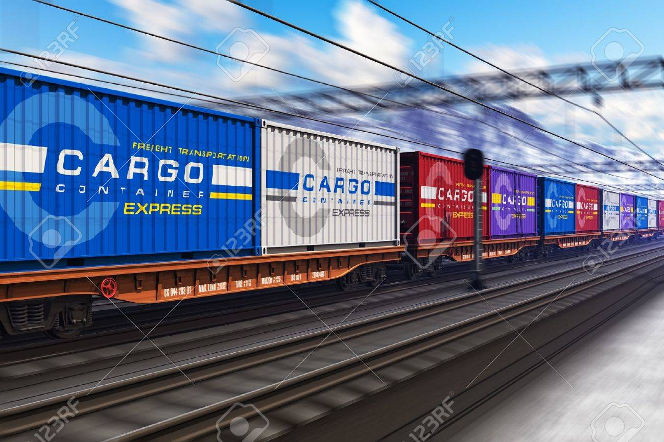 Freight train with color cargo containers passing railway station in winter with motion blur effect Stock Photo - 17167215