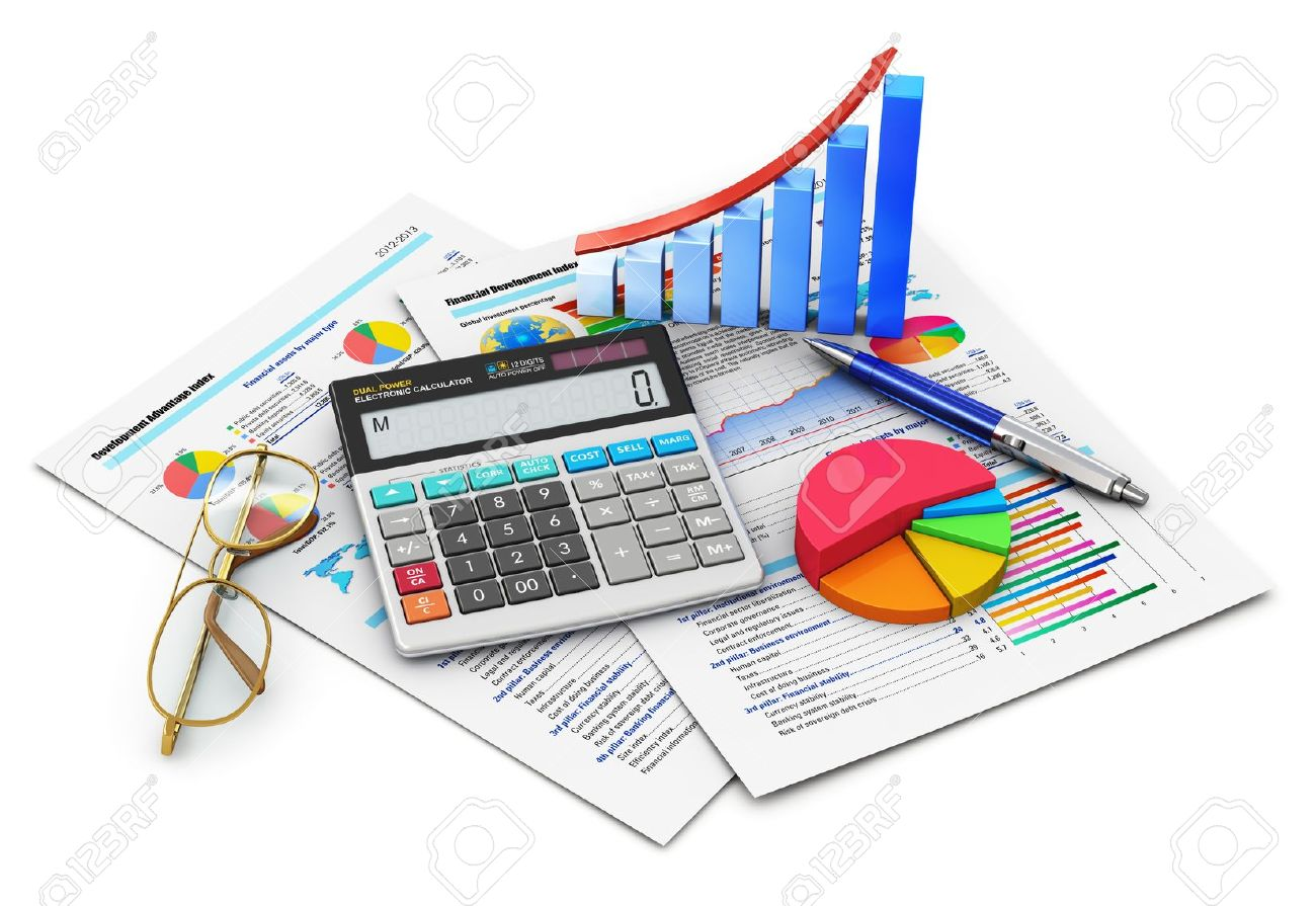 Business finance, tax, accounting, statistics and analytic research concept  office electronic calculator, bar graph and pie diagram, glasses and pen on financial reports with colorful data isolated on white background  Design is my own Stock Photo - 18022330